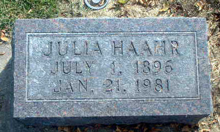 HAAHR, JULIA - Audubon County, Iowa | JULIA HAAHR