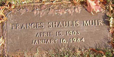 SHAULIS MUIR, FRANCES - Black Hawk County, Iowa | FRANCES SHAULIS MUIR