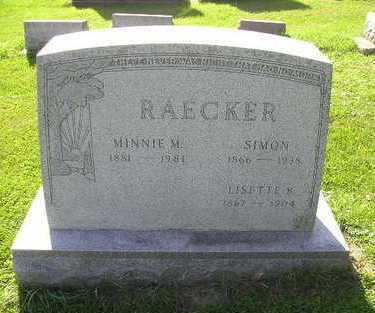 RAECKER, MINNIE M - Bremer County, Iowa | MINNIE M RAECKER