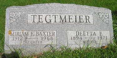 BAXTER TEGTMEIER, MIRIAM E - Bremer County, Iowa | MIRIAM E BAXTER TEGTMEIER