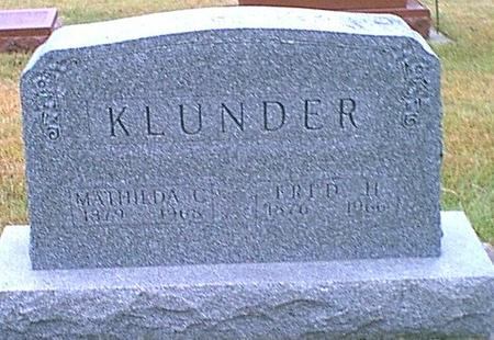 WEDEKING KLUNDER, MATHILDA - Butler County, Iowa | MATHILDA WEDEKING KLUNDER