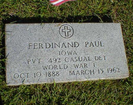 PAUL, FERDINAND - Cerro Gordo County, Iowa | FERDINAND PAUL