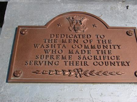 WASHTA MEMORIAL, DEDICATION - Cherokee County, Iowa | DEDICATION WASHTA MEMORIAL