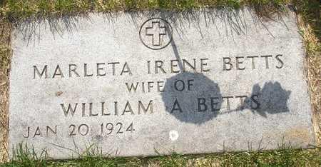 BETTS, MARLETTA IRENE - Clinton County, Iowa | MARLETTA IRENE BETTS