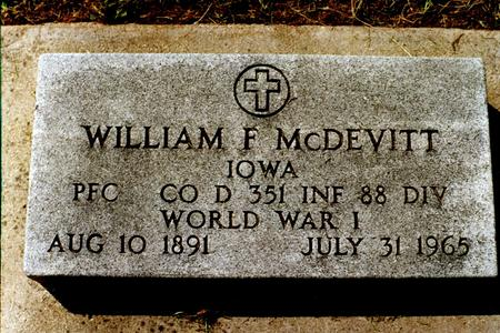 MCDEVITT, WILLIAM F. - Clinton County, Iowa | WILLIAM F. MCDEVITT