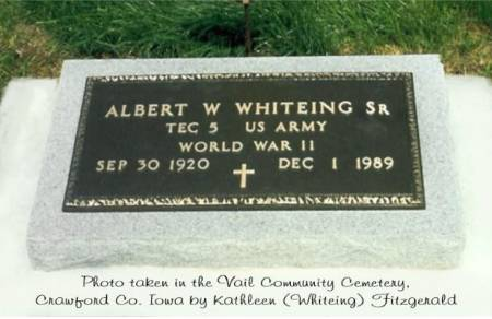 WHITEING, ALBERT WILLIAM (SR.) - Crawford County, Iowa | ALBERT WILLIAM (SR.) WHITEING