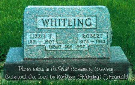 WHITEING, ROBERT, ELIZABETH FRANCES (MASON) & INFANT SON - Crawford County, Iowa | ROBERT, ELIZABETH FRANCES (MASON) & INFANT SON WHITEING