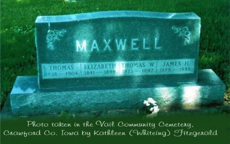 MAXWELL, THOMAS, ELIZABETH, THOMAS W. & JAMES H. - Crawford County, Iowa | THOMAS, ELIZABETH, THOMAS W. & JAMES H. MAXWELL