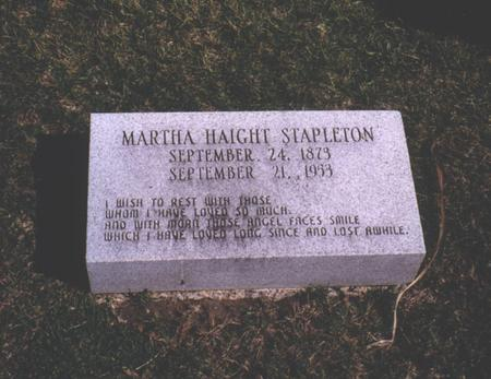 HAIGHT STAPLETON, MARTHA - Des Moines County, Iowa | MARTHA HAIGHT STAPLETON