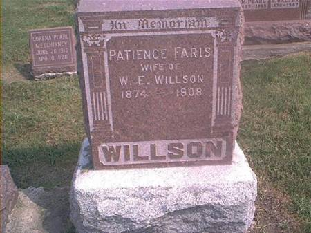 WILLSON, PATIENCE FARIS - Des Moines County, Iowa | PATIENCE FARIS WILLSON