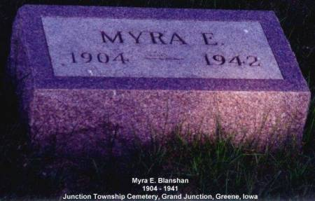 BLANSHAN, MYRA E. - Greene County, Iowa | MYRA E. BLANSHAN
