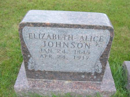 JOHNSON, ELIZABETH ALICE - Greene County, Iowa   ELIZABETH ALICE JOHNSON