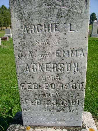 ACKERSON, ARCHIE L - Hancock County, Iowa   ARCHIE L ACKERSON