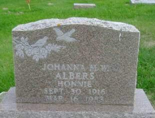 ALBERS, JOHANNA M W - Hancock County, Iowa | JOHANNA M W ALBERS