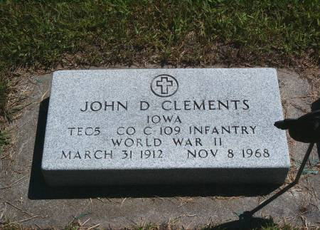 CLEMENTS, JOHN D - Hancock County, Iowa | JOHN D CLEMENTS