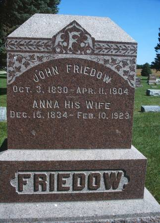 FRIEDOW, ANNA - Hancock County, Iowa | ANNA FRIEDOW