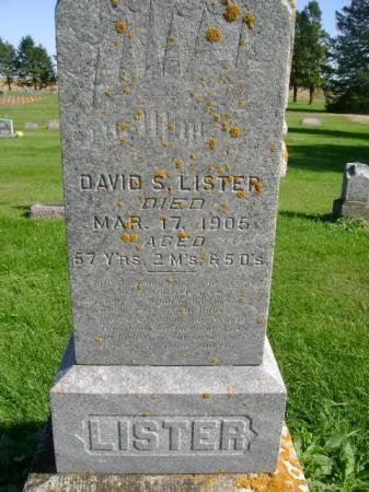 LISTER, DAVID S - Hancock County, Iowa   DAVID S LISTER
