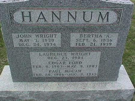 HANNUM, JOHN WRIGHT - Henry County, Iowa | JOHN WRIGHT HANNUM