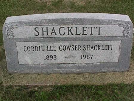 COWSER SHACKLETT, CORDIE LEE - Henry County, Iowa | CORDIE LEE COWSER SHACKLETT