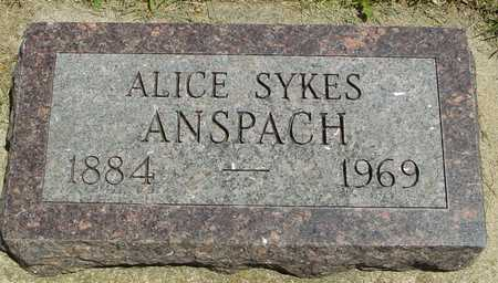 SYKES ANSPACH, ALICE - Ida County, Iowa | ALICE SYKES ANSPACH