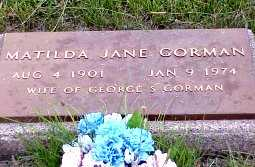 GOBLE GORMAN, MATILTA JANE - Jasper County, Iowa | MATILTA JANE GOBLE GORMAN