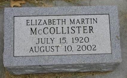 MARTIN MCCOLLISTER, ELIZABETH - Johnson County, Iowa | ELIZABETH MARTIN MCCOLLISTER