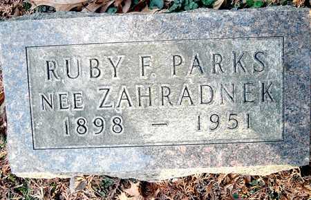 ZAHRADNEK PARKS, RUBY F - Johnson County, Iowa | RUBY F ZAHRADNEK PARKS