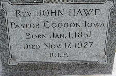 HAWE, REV. JOHN - Linn County, Iowa | REV. JOHN HAWE
