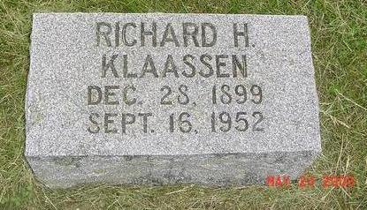 KLAASSEN, RICHARD H. (RICHTE/COOK) - Lyon County, Iowa | RICHARD H. (RICHTE/COOK) KLAASSEN