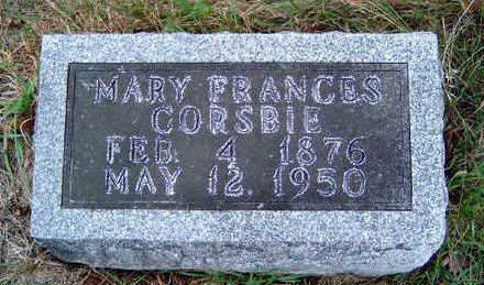 CORSBIE, MARY FRANCES - Madison County, Iowa | MARY FRANCES CORSBIE