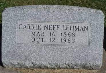 NEFF LEHMAN, CARRIE AUGUSTA - Madison County, Iowa | CARRIE AUGUSTA NEFF LEHMAN
