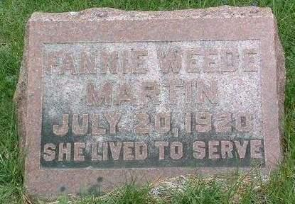 WEEDE MARTIN, FRANCES ANN (FANNIE) - Madison County, Iowa | FRANCES ANN (FANNIE) WEEDE MARTIN