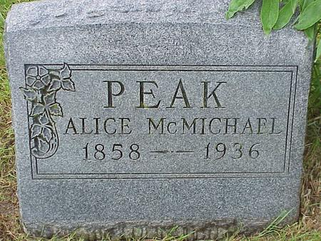 MCMICHAEL PEAK, SARAH ALICE - Madison County, Iowa | SARAH ALICE MCMICHAEL PEAK