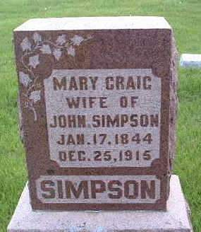 CRAIG SIMPSON, MARY - Madison County, Iowa | MARY CRAIG SIMPSON