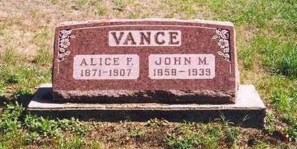 VANCE, JOHN M. & ALICE F. - Mahaska County, Iowa | JOHN M. & ALICE F. VANCE