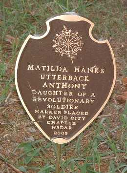 HANKS UTTERBACK ANTHONY, MATILDA - Mills County, Iowa | MATILDA HANKS UTTERBACK ANTHONY