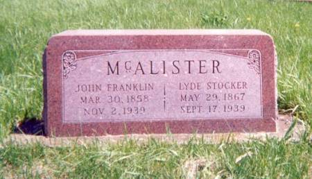 MCALISTER, JOHN AND LYDE - Monroe County, Iowa | JOHN AND LYDE MCALISTER