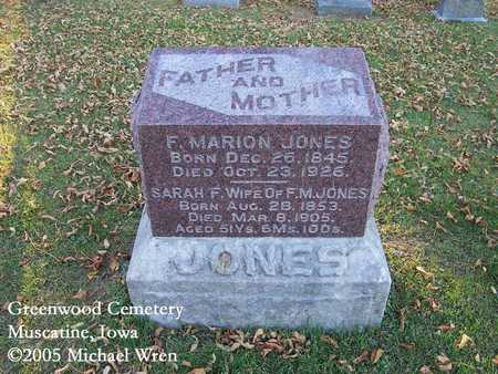JONES, FRANCIS MARION - Muscatine County, Iowa | FRANCIS MARION JONES