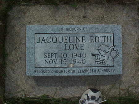 LOVE, JACQUELINE EDITH - Muscatine County, Iowa | JACQUELINE EDITH LOVE