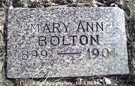 BOLTON, MARY ANN - Plymouth County, Iowa | MARY ANN BOLTON