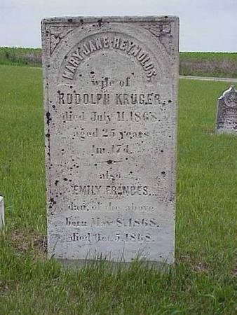 KRUGER, MARY JANE REYNOLDS & EMILY FRANCES - Pottawattamie County, Iowa   MARY JANE REYNOLDS & EMILY FRANCES KRUGER
