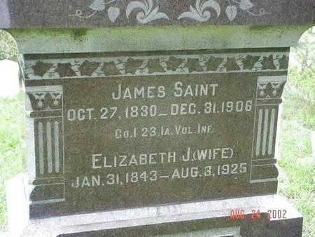 SAINT, JAMES & ELIZABETH J. INSCRIPTION - Pottawattamie County, Iowa | JAMES & ELIZABETH J. INSCRIPTION SAINT