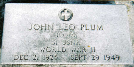 PLUM, JOHN LEO - Poweshiek County, Iowa | JOHN LEO PLUM