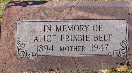 FRISBIE BELT, ALICE - Sac County, Iowa | ALICE FRISBIE BELT