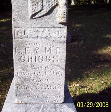 GRIGGS, CLIETA D - Sac County, Iowa | CLIETA D GRIGGS