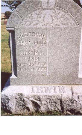 RUUS IRWIN, GERTRUDE ANNA - Sac County, Iowa | GERTRUDE ANNA RUUS IRWIN