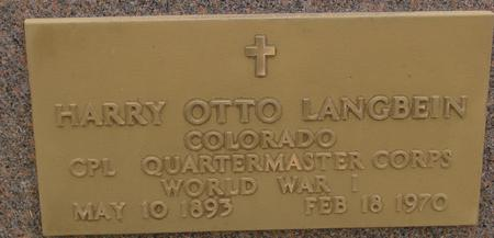 LANGBEIN, HARRY OTTO - Sac County, Iowa | HARRY OTTO LANGBEIN