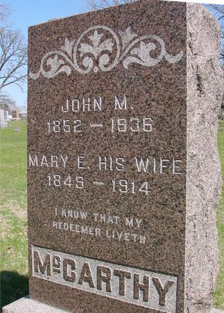 MCCARTHY, JOHN M. & MARY E. - Sac County, Iowa | JOHN M. & MARY E. MCCARTHY