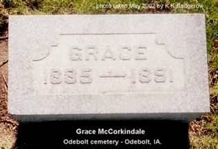 MCCORKINDALE, GRACE - Sac County, Iowa | GRACE MCCORKINDALE