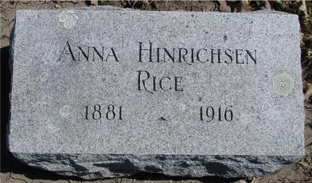 HINRICHSEN RICE, ANNA - Sac County, Iowa | ANNA HINRICHSEN RICE